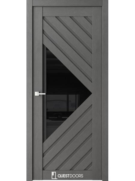 Межкомнатная дверь QZ12 сильвер стекло черное