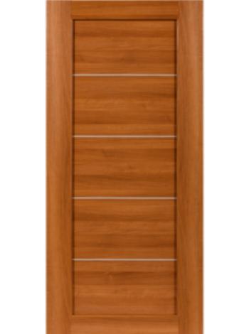 Межкомнатная дверь СО4 Орех карамельный вставка алюм. МЕТАЛЛИК