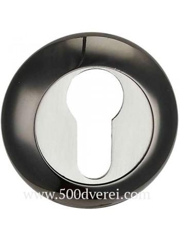 Накладка на цилиндр к ручкам BK AL 08, черный никель/ никель матовый