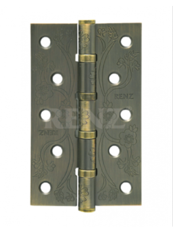 Петля ст. декор RENZ  125*75*2,5, 4подш., плоск. колп. , бронза античная матовая
