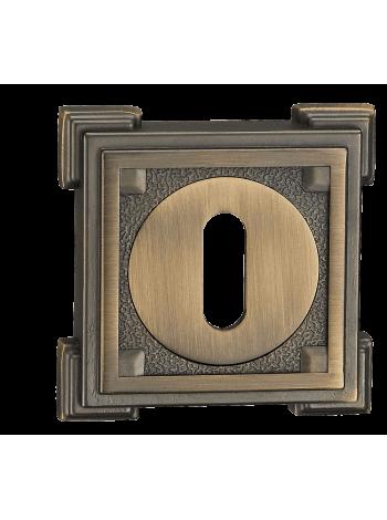 Накладка кв. декоративная под сувальдный ключ , бронза античная мат.