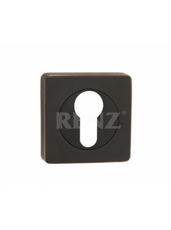 Накладка квадр. на цилиндр RENZ, черная бронза с патиной